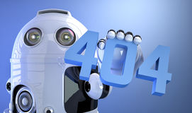 404 error, page not found!. Android robot holding 404 error sign Royalty Free Stock Image