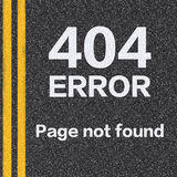 404 error page not found on asphalt road Royalty Free Stock Photos