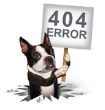 404 Error. Page not found concept and a broken or dead link symbol as a dog emerging from a hole holding a sign with text for breaking the network connection stock illustration