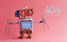 Error 404 page not found concept. Friendly handyman robot, smiley red head, Keep calm I`ll fix it message on blue. Monitor body, pliers in arms. Pink background Stock Photography