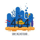 404 error page not found concept with undersea world isolated on white background. Yellow submarine with periscope -. Flat vector illustration Royalty Free Stock Photo