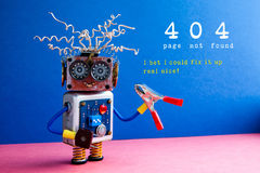 Error 404 page not found. Crazy robot serviceman with red pliers, I bet I could fix it up real nice text on blue pink Stock Photo