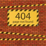 Error 404. Page not found. Danger sign on brick wall stock illustration