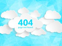 404 error page not found illustration of abstract creative conce. Pt clouds collection on a blue triangular background. Flat polygonal illustration page not Stock Illustration