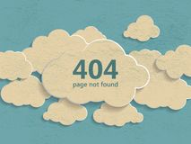 404 error page not found illustration of abstract creative vinta. Ge concept clouds collection on a blue background. Flat line illustration page not found Stock Illustration