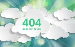 404 error page not found illustration of beautiful spring green. Natural sunny rays light background with white paper clouds collection. Springtime page not royalty free illustration