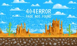 404 error page. not found. Landscape background, pixel art, 8-bit game digital vintage style for web site. clouds over vector illustration
