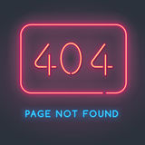 Error 404 page not found. Neon sign with the error code. Bright backlight Stock Photos