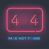 Error 404 page not found. Neon sign with the error code. Burnt Lamps Royalty Free Stock Photography