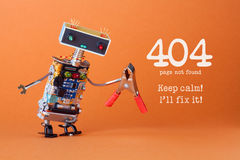 Error 404 page not found page. Keep calm I`ll fix it. Friendly robotic toy with red pliers. Fun handyman character. Colorful head red blue light bulbs eyes Royalty Free Stock Photo