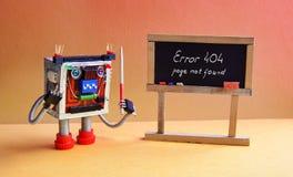 404 error page not found. Robot teacher with pointer, black chalkboard handwritten error message. Orange yellow. Background classroom interior royalty free stock photo