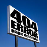 404 error page. Page not found sign for missing web pages on billboard against blue sky Royalty Free Stock Photography