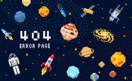 404 error page. not found. space background, spaceman, robot rocket and satellite cubes solar system planets pixel art Royalty Free Stock Photography