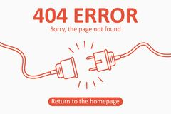 404 error. Page not found template with electric plug and socket. Design for web page - disconnect banner for website. Vector. 404 error. Page not found vector illustration
