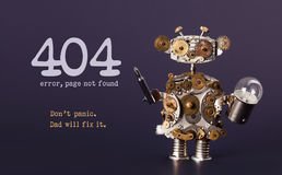 Error 404 page not found template for website. Steam punk style toy robot  with screaw driver and light bulb lamp. Error 404 page not found template for website Royalty Free Stock Images
