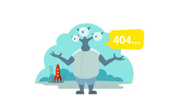 Error page 404 not found. Three-eyed alien arrived on rocket Royalty Free Stock Photo