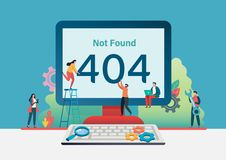 404 error page not found. Vector illustration background. Flat cartoon character graphic design. Landing page template,banner. Flyer,poster,web page vector illustration
