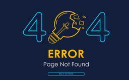 404 error page not found vector lamp broken graphic background. 404 error page not found vector lamp broken background Royalty Free Stock Photography