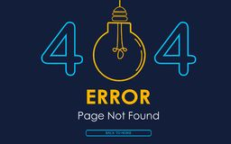 404 error page not found vector lamp graphic background. 404 error page not found vector lamp background Stock Image