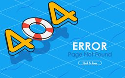 404 error page not found vector in swimming pool graphic. Background Royalty Free Stock Photos