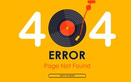 404 error page not found vector vinyl music graphic background Stock Images