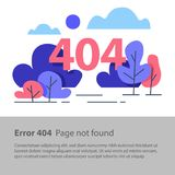 Page not found, error 404, web banner, flat illustration. Error 404, page not found, web banner, search result, vector flat design illustration Royalty Free Stock Images