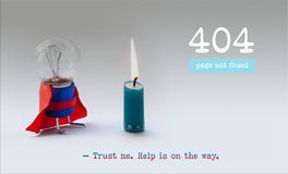 Error 404 page not found web page. Light bulb superhero and burnt out candle. Trust me help is on the way text message. Error 404 page not found web page. Light stock image