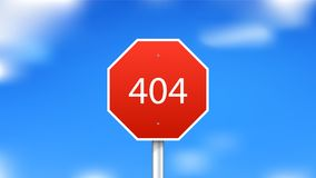 404 error page. Red stop sign on sky background Stock Image