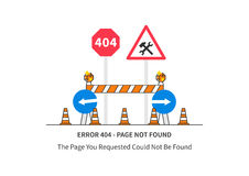 Error 404 page with road construction signs Royalty Free Stock Image
