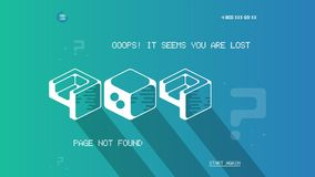 Error 404 page template with flat space art. Flat design vector 404 error page template for website. Cosmic flat space. Art in error 404 page design template Royalty Free Stock Image