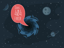 404 error page template for website. Open space. Bubble message from the black hole on the background of planets and stars. Vector illustration for web design Royalty Free Stock Image