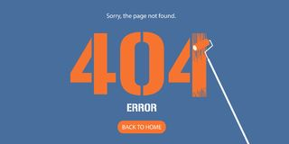 404 error page vector illustration. Banner with not found message. Abstract simple background with failure warning for website error 404 concept design element Royalty Free Illustration