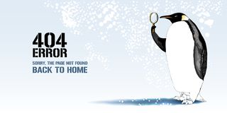 404 error page vector illustration. Banner with not found message. Cartoon penguin with lenses background for error 404 concept web page design element stock illustration