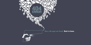 404 error page vector illustration. Banner with not found text. Gun and message bubble background for error 404 concept web design element Royalty Free Illustration
