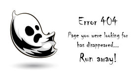 404 error page vector template for website.Halloween ghost character on white background. Scary falling spirit. Spooky error page for Halloween holiday. Text Royalty Free Stock Photos