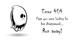 404 error page vector template for website.Halloween ghost character on white background. Scary sad spirit. Spooky error page for Halloween holiday. Text Royalty Free Stock Photo