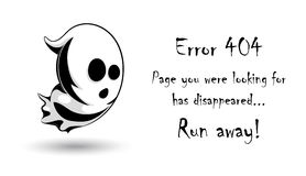 404 error page vector template for website.Halloween ghost character on white background. Scary surprised spirit. Spooky error page for Halloween holiday. Text Royalty Free Stock Image