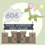 Error page 404 for web. Cartoon castle and dragon Royalty Free Stock Photos