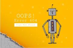 Error 404 Paginación no encontrada Plantilla del diseño con el texto y el robot Ejemplo para un sitio web Oops el problema de la  ilustración del vector
