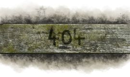 Error 404. Painted 404 on weathered old wooden board stock images