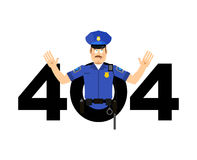 Error 404. Policeman surprise. Page not found template for web s Stock Photography