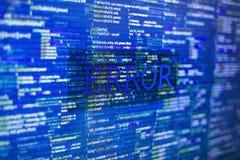 Error. In program code listing, blue screenshot of crash on software developer screen Royalty Free Stock Photo