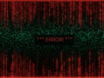 Error in program code listing, red crash on software developer   Royalty Free Stock Photo