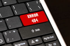 Error 404 on Red Enter Button on black keyboard Stock Photography