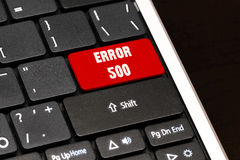 Error 500 on Red Enter Button on black keyboard Stock Photo