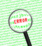 ERROR in red revealed in green computer machine code Stock Image