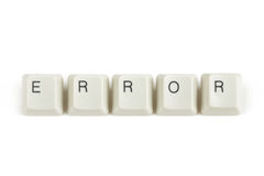 Error from scattered keyboard keys on white. Error text from scattered keyboard keys isolated on white background royalty free stock photography