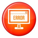 Error sign on a computer monitor icon, flat style Royalty Free Stock Photos