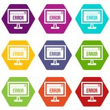 Error sign on a computer monitor icon set color hexahedron Royalty Free Stock Photo