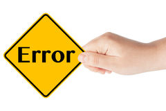 Error sign with hand Royalty Free Stock Photos
